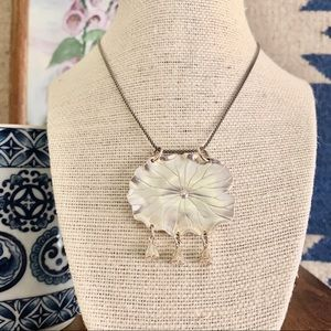 Sterling Lily Pad Pendant Necklace